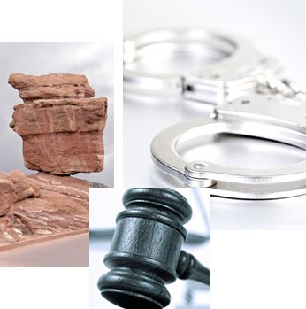Rocks, Hand Cuffs and Gavel