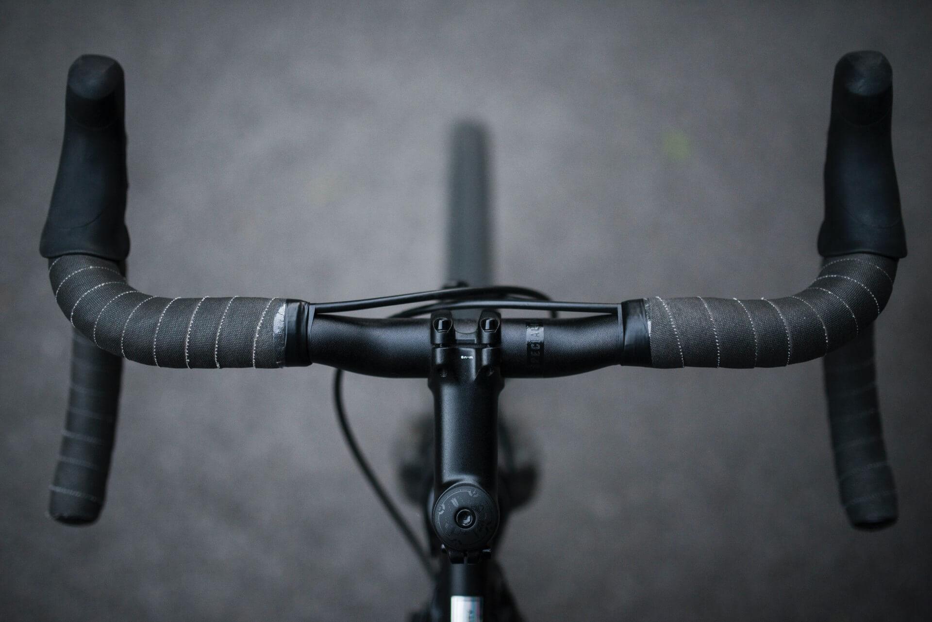 Overhead view of bicycle handlebars